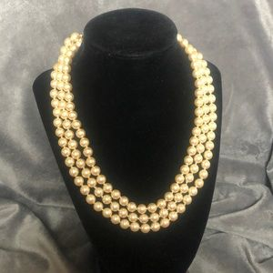 KJL Pearl Necklace with Monogramed Clasp